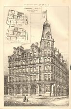 1883 ANTIQUE ARCHITECTURE, DESIGN PRINT- PROPOSED HOTEL AT FOLKESTONE, KENT