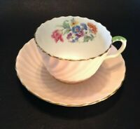 Aynsley Tea Cup And Saucer - Pale Pink With Bavarian Style Flowers - England