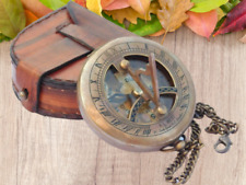 Brass Compass Push Open Sundial Compass SteampunK with Leather Case and Chain