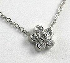 Diamond Flower Design Necklace 14k WG with 0.41ct Diamonds