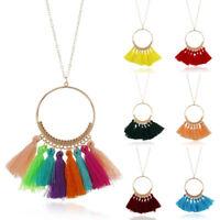 1PC Thread Tassel Fringe Large Hoop Pendant Necklace Long Sweater Chain Women