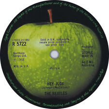 Beatles. Hey Jude. Abbey Road. Record Label Vinyl Sticker. Apple Corps.