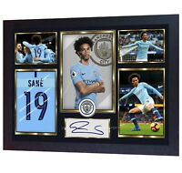 NEW Leroy Sane Man City signed autographed photo aguero Manchester poster FRAMED