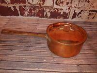 Vintage Old Copper Saucepan & Lid Brass Handle Kitchenalia Serving Dish Portugal