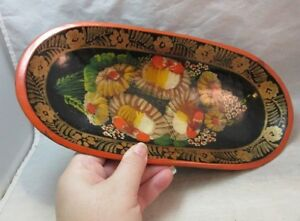 Hand painted wood tole ware oval bread, cracker bowl. Black & red