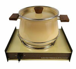 Vintage Retro Cornwall Electric Fondue Pot Burner 2 Quart Harvest Yellow Gold