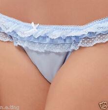 Cute Pale Blue String Bikini Panties Frilly Lace Knickers  UK 12 - US 8