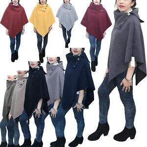 Womens Poncho Sweater Knit Cape Cardigan Wrap Warm Winter Ladies Shawl Size S