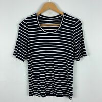 Blue Illusion Womens Top XS Extra Small Black Striped Short Sleeve Round Neck