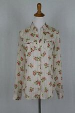 Massimo Dutti Pink & Ivory Beige Rose Print Cotton Voile Button Front Shirt S
