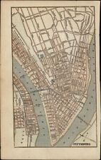Pittsburgh Pennsylvania city plan detailed c1855 antique engraved map hand color