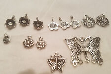 13 Pc Antique Silver Tone Nature Charms🌼🦋 Butterflies Flowers 6-35mm