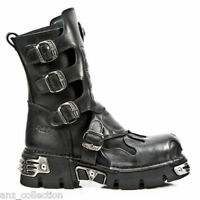 Newrock New Rock 591-S3 Silver Flame Metalic Black Leather Boot Biker Goth Boots