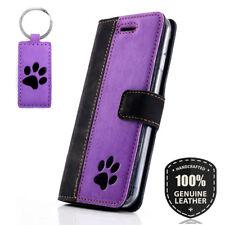 SURAZO® Echtes Leder Handy Hülle Wallet Case Cover Etui Schwarz/Violett - Pfote