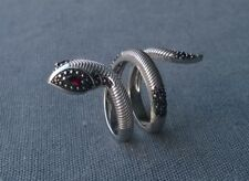 925 SOLID STERLING SILVER GARNET & SPINEL SNAKE FEATURE WRAP RING M