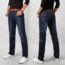 Men's Dark Blue Slim Fit Denim Pants Casual Long Straight Trousers Skinny Jeans