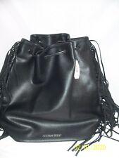 Victorias Secret Faux Leather Black Fringe Backpack Bag NWT