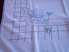 "VTG CROSS STITCH EMBROIDERED ANTIQUE BLUE ROSE 42"" SQ TBLCLTH/TOPPER"