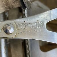"Schwinn Approved Script Toe Clip Straps White Leather Union 9/16"" Pedals Vintage"