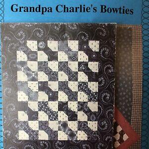VTG Quilt N Such Kit GRANDPA CHARLIE'S BOWTIES Pattern + Fabric Blue 2001 Wall