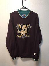 STARTER ANAHEIM MIGHTY DUCKS NHL Hockey Crewneck Sweater Purple Vintage Sz L