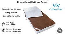 LUXURY AUSTRALIAN MERINO CAMEL WOOL UNDER BLANKET Mattress Bed Topper ALL SIZES