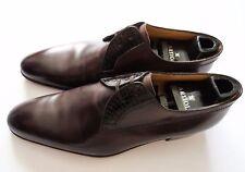 $2000 ARTIOLI Brown Leather Crocodile Oxford Dress Shoes 8.5 US 41.5 Euro 7.5 UK