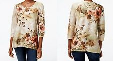 Alfred Dunner shirt  Large L Green, Brown, Beige with Orange Floral print