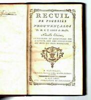 1763 F Toussaint GROS de MARSEILLE RECUEIL DE POUESIES PROUVENÇALOS 1763 Occitan