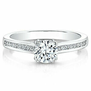 Round Cut 0.70 Ct Moissanite Engagement Ring For Women 14K White Gold Size N O P