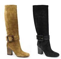 $1350 New Authentic GUCCI Suede Kesha Suede Heel Knee Boots w/Buckle 338693