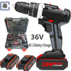 36V Electric Cordless Hammer Impact Power Drill Screwdriver+ 2 Battery+Charger