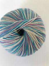 2 Ply Laceweight Cashmere Yarn -100% Pure 45g ball 457m- Blue, white, pink mix