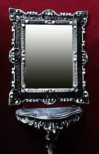 2´ Er Set Mirror Table IN Black/White Baroque Wall Mirror+Wall Bracket 44x38