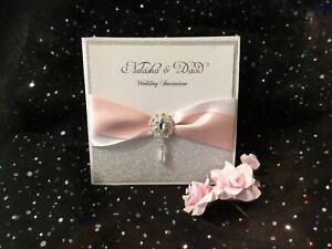 WEDDING INVITATION VINTAGE SILVER GLITTER & PINK BLUSH  LASER CUT