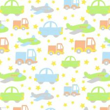 Fabric Baby Transportation Cars Planes on White Flannel 1 Yard S