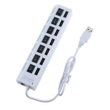 7-Port Slot Tap USB 2.0 Hub Adapter Splitter Power On/Off Switch LED Light White