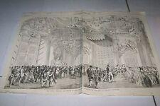 #00-0086 3/13/1858 ANTIQUE PRINT (GERMANY) - ROYAL WEDDING - HALL OF KNIGHTS