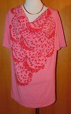 VIA MILANO Shirt, 1/2 Arm Wasserfallausschnitt asymmetrischer-Druck Gr.48   QVC