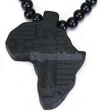 Mens Charm Wooden African Africa Map Pendant Necklace Wood Beads Chain Gift