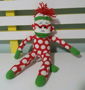 ANIMAL ADVENTURE SOCK MONKEY PLUSH TOY! CUTE PINK SOFT TOY ABOUT 30CM TALL