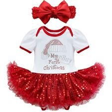 Infant Girl Baby My 1st Christmas Santa Romper Tutu Dress Outfit Headband Set