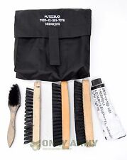 German Army Boot Cleaning Kit With Brushes + Pouch Black Cadet Military Boots
