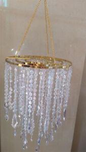 "1PCS 22"" Tall Iridesce Acrylic Bead Chain Hanging Chandelier Wedding Centerpiece"