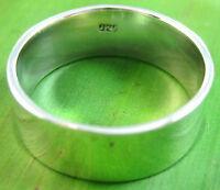 "925 sterling silver plain SOLID ""9mm FLAT wedding band"" Ring Big size MEN WOMEN"