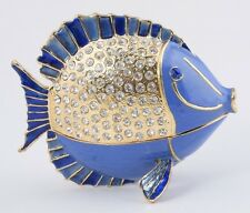 Fish Trinket box by Keren Kopal Austrian Crystal Jewelry box Faberge
