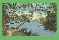 Vintage postcard The Lake, Roundhay Park, Leeds, Yorkshire.