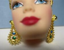 Barbie Doll Jewelry-MATTEL GOLD DROP EMERALD/SAPPHIRE ORNATE ASIAN STYL EARRINGS