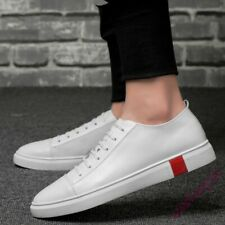 Mens Lace Up Round Toe Flat Popular Solid Low Top Board Shoes Leather  Leisure