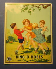 Old Vintage - RING-O-ROSES Fabric Advertising LABEL - Ring Around the Rosie Game